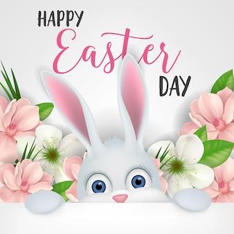 Ostern-beschriftung mit weißem karikatur-häschen