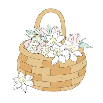 Ostern-blumenstrauß religiöser feiertags-vektor-illustrations-satz