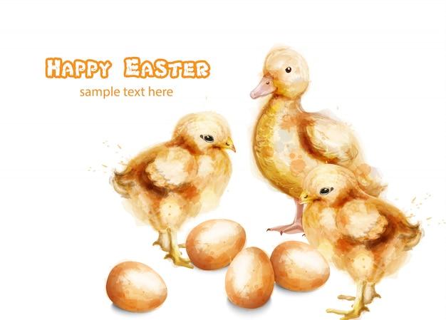 Ostern ducky und kükenaquarellkarte