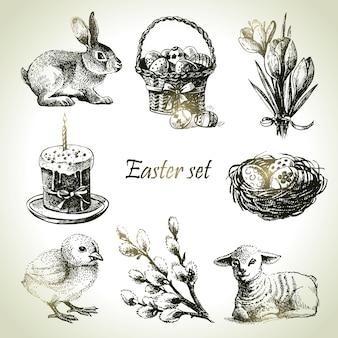 Ostern eingestellt. handgezeichnete illustrationen