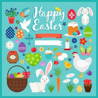 Ostern farbige elemente. frühlingsostern-vektorillustration mit karotte und kuchen, häschen und eiern