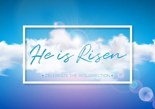 Ostern-feiertagsillustration mit wolke auf hintergrund des blauen himmels
