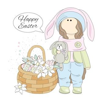 Ostern-geschenk tilda-puppe-großer feiertags-vektor-illustrations-satz