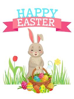 Ostern-grußkarte, nettes häschen, bunte eier und frühlingsblumen, fröhliche ostern-karikatur