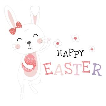 Ostern-grußkartenschablone mit lustigem entzückendem häschen oder kaninchen, die ei halten.