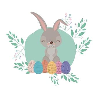 Ostern-hintergrund mit kaninchen und ostereiern