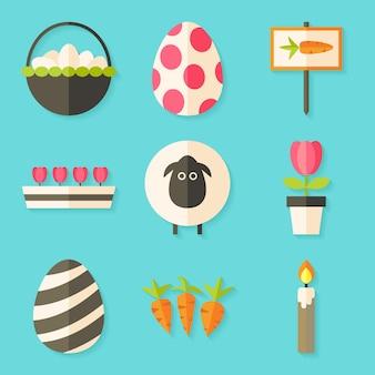 Ostern-ikonen stellten mit schatten über blau ein. set mit flachen stilobjekten