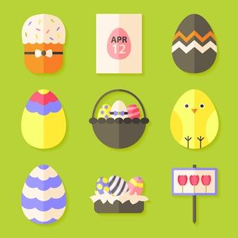 Ostern-ikonen stellten mit schatten über grün ein. set mit flachen stilobjekten