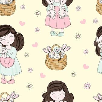 Ostern-kind-feiertags-nahtlose muster-vektor-illustration