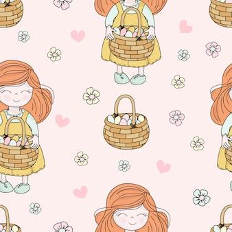Ostern-kind-heiliger feiertags-nahtlose muster-vektor-illustration