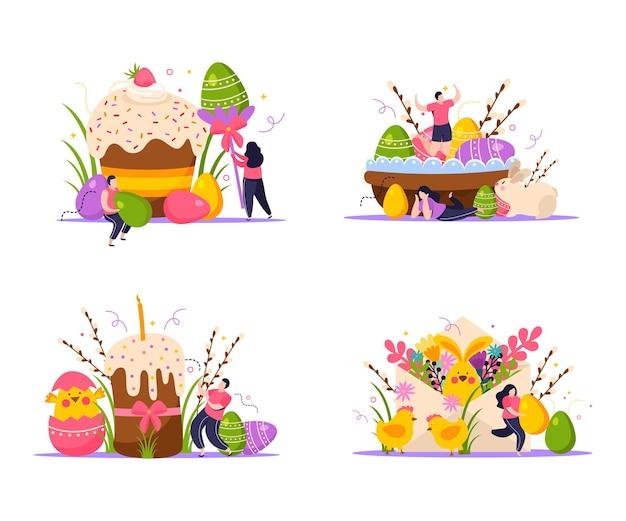 Ostern-konzeptikonen stellten mit flacher lokalisierter illustration der farbigen eier ein