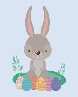Ostern-landschaftsszene mit kaninchen und ostereiern