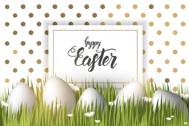 Ostern mit eiern auf dem gras, handgemachte modische beschriftung