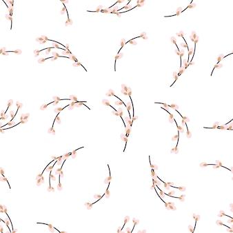 Ostern nahtloses muster mit weidenzweigen auf weißem hintergrund. vektor-illustration