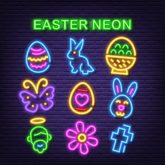 Ostern neon icons