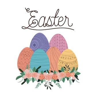 Ostern-plakat mit den eiern und verzierung mit blumen