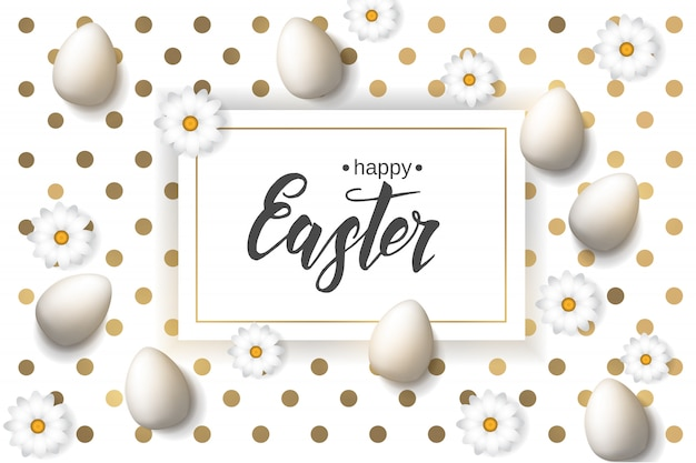 Ostern-plakat mit eiern und kamille, handgemachte modische beschriftung