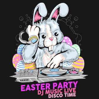 Ostern-tag-kaninchen-dj-party