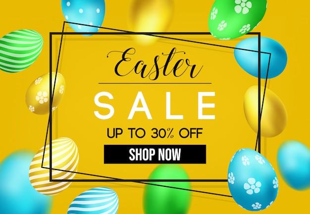 Ostern-tagesverkauf mit eiern des modells 3d