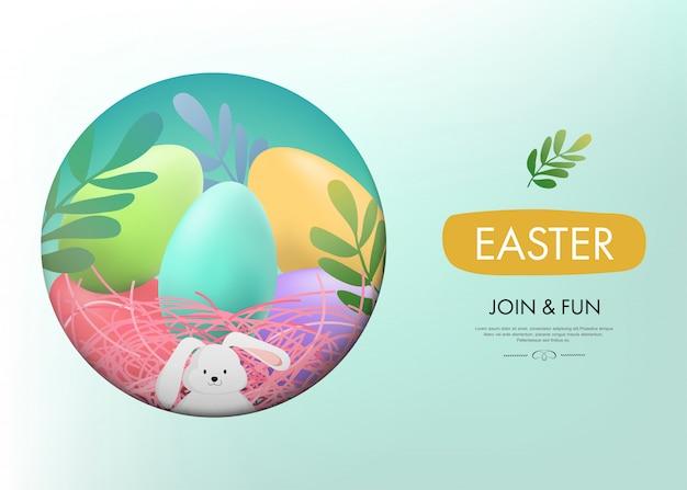 Ostern und kleines häschen niedliches kaninchen.