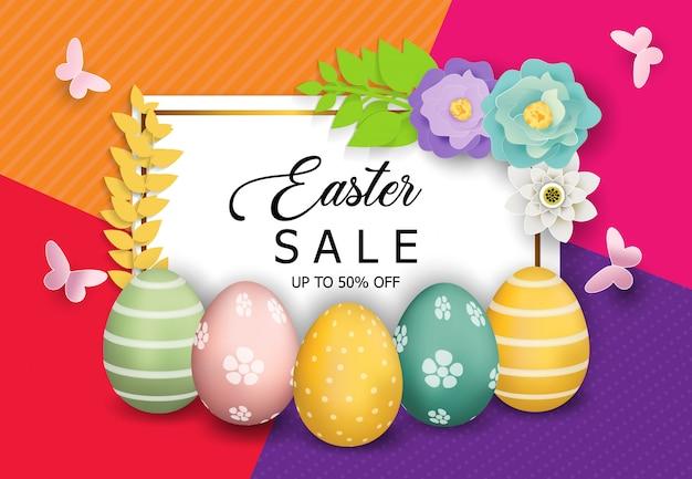 Ostern verkauf banner hintergrund vektor