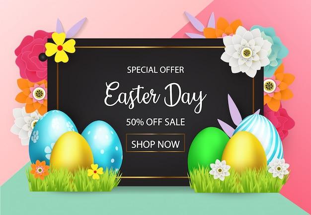 Ostern-verkauf, der hintergrund mit farbigem eiervektor annonciert