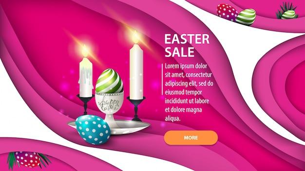 Ostern-verkauf, moderne rosa horizontale rabattfahne