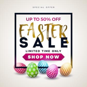 Ostern-verkaufs-illustration mit farbe gemaltem ei