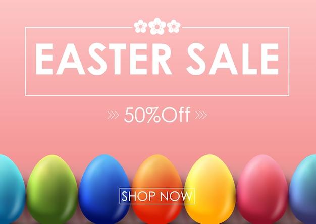 Ostern-verkaufsfahne mit dekorativen colorfull ostereiern