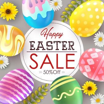 Ostern-verkaufsfahne mit dekorativen ostereiern