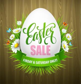 Ostern-verkaufsfahne mit eiern und frühlingsblume.