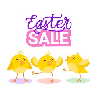 Ostern-verkaufsfahne mit nettem gelbem huhn