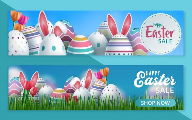 Ostern-verkaufsfahne mit schönen bunten eiern.