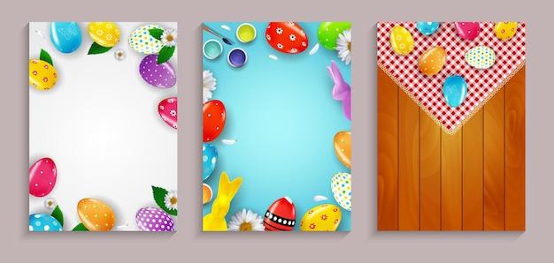 Ostern-verkaufsplakat-set-vorlage mit realistischen 3d-ostereiern und farbvorlage für werbeplakat-flyer-grußkarte
