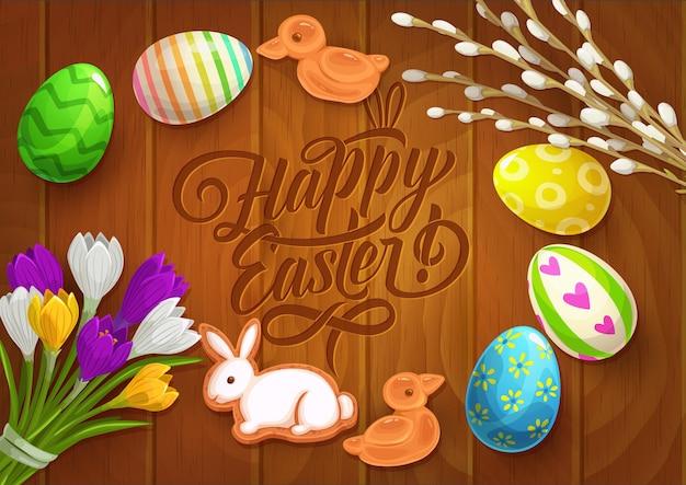 Osterplakat mit gemalten eiern, krokusblüten