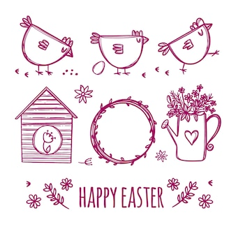 Osterskizze des frühlingsurlaubs mit niedlichen hühnern und blumen