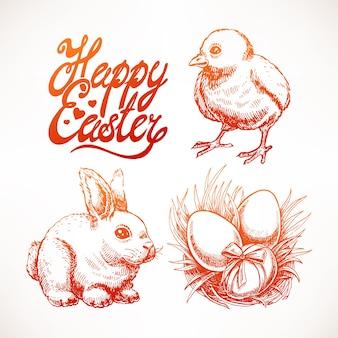 Osterskizzen-satz mit niedlicher kaninchenillustration