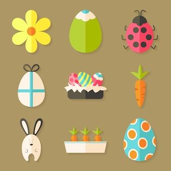 Ostersymbole mit schatten über hellbraun. set mit flachen stilobjekten