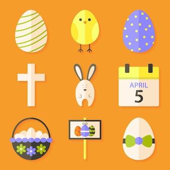 Ostersymbole mit schatten über orange. set mit flachen stilobjekten