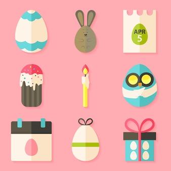 Ostersymbole mit schatten über rosa. set mit flachen stilobjekten