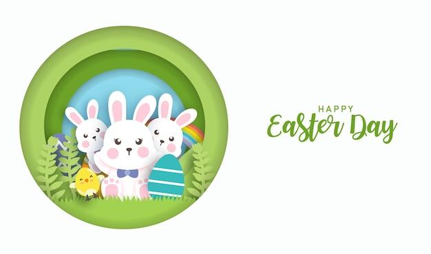 Ostertag hintergrund und banner mit niedlichen kaninchen und ostereiern.
