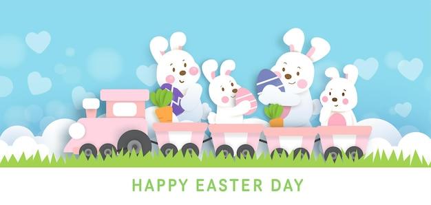 Ostertag hintergrund und banner mit niedlichen kaninchen und ostereiern