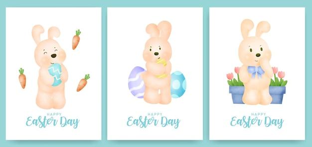 Ostertagsgrußkarte mit niedlichem kaninchen und osterei.