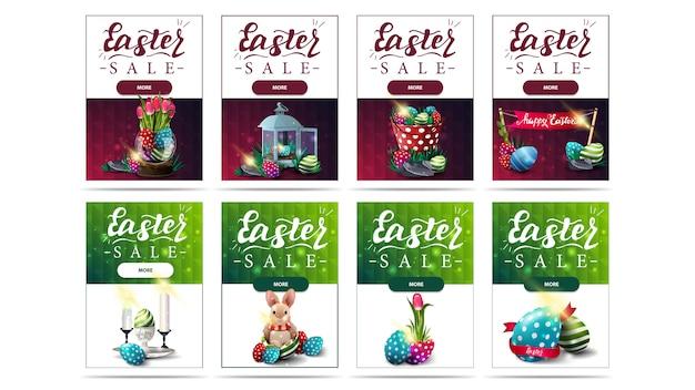 Osterverkauf, große sammlung vertikaler rabattbanner mit ostersymbolen, knöpfen und polygonaler textur