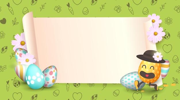 Osterverkaufsfahnenhintergrundschablone mit schönen bunten frühlingsblumen und cartoon-ostereiern, die laufen.