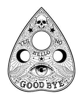 Ouija planchette board grafische illustration