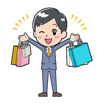 Out line businessman_shopping-bag