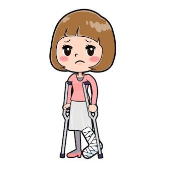 Out line rosa kleidung frauen frakturen bein
