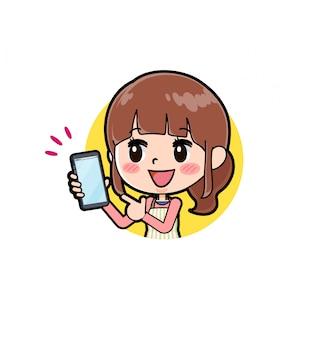 Out line schürze mama smartphone