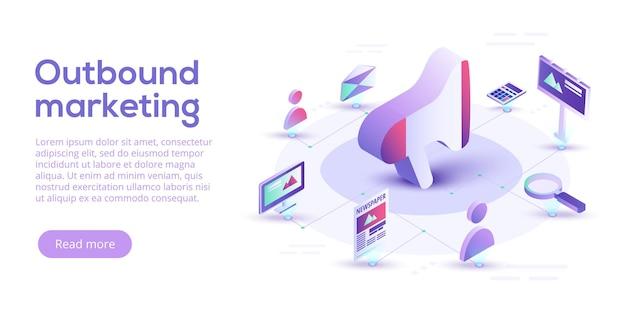 Outbound-marketing-geschäft im isometrischen design. hintergrund für offline- oder unterbrechungsmarketing.